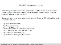 House Cleaner Job Cover Letter For Cleaning Job Hospital Cleaner Cover Letter In This