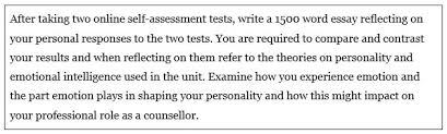 examples of reflective assignments the learning centre online  this assignment asks you to write an essay based on taking two online self assessment tests not only are you being asked to compare and contrast your