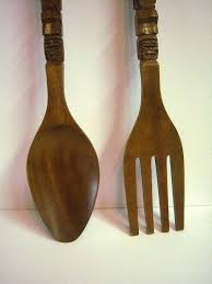 large wooden fork and spoon wall art