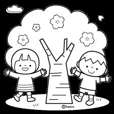 櫻桃樹和兒童插圖著色 絵 ぬりえ桜の木桜イラスト