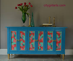 deep bright blue green credenza buffet media cabinet bright painted furniture