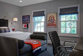 View in gallery Transitional masculine bedroom showcases a plush way to  decorate the foot of the bed