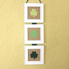 framed burlap shamrock art trio