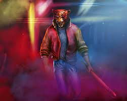 1280x1024 Man With Neon Tiger Synthwave ...