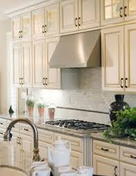 marble cooking table faced electric stove and stainless steel hood paired with ivory kitchen cabinet