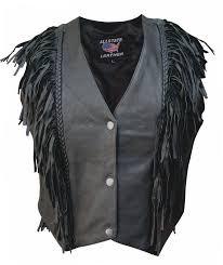 las black leather vest with fringe and braid