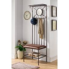 Metal Tree Coat Rack Extraordinary Copper Metal Entryway Hallway Storage Bench Hall Tree Coat Rack