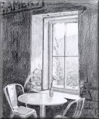 window pencil drawing. contrast - a pencil drawing by john w johnston. \ window