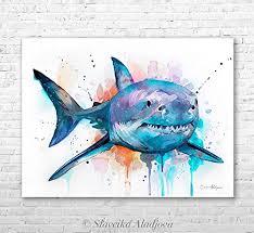 great white shark painting. Wonderful Great Great White Shark Watercolor Painting Print By Slaveika Aladjova Inside White Shark Painting