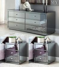 vegas white glass mirrored bedside tables. Vegas Smoke Mirrored Bedside Tables And Chest Package - Mirror Furniture White Glass