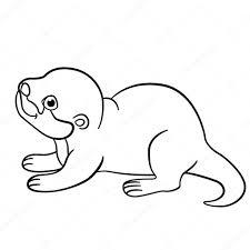 Kleurplaten Kleine Schattige Baby Otter Glimlacht Stockvector
