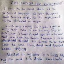 Hilarious Job Application Letter With Death Certificate Attached