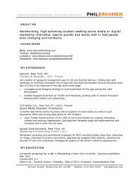 Advertising Internship Resume Advertising Marketing Resume