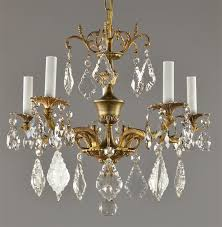 spanish brass crystal chandelier c1950 vintage antique red gold gilt light