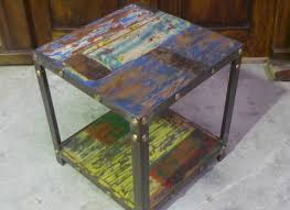 Bali Furniture Iron Wooden Recycled Boat Timber Cube Stool Chair