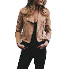 preppy style women faux soft leather jackets zipper lady slim fit coat outerwear coats with belt jacket retro zipper up er jacket dress casual jacket