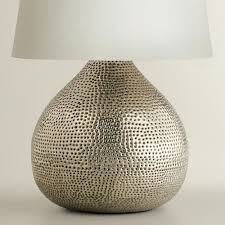 round table lamp base the round silhouette of our gorgeous pewter prema punched metal table lamp