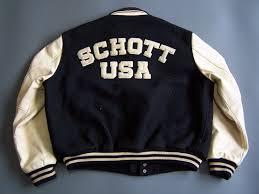 schott baseball varsity jacket men s large black beige wool leather vtg ljktk005