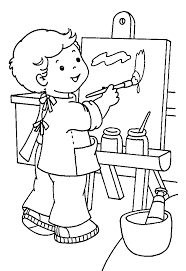 painting coloring pages. Contemporary Pages Boy Painting Coloring Page For Painting Coloring Pages C
