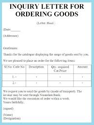 inquiry letter for ordering goods   sample letter of ordering    inquiry letter for ordering goods sample