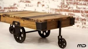 Industrial Coffee Table Cart Industrial Coffee Table Cart Hardwood Iron Milan Direct