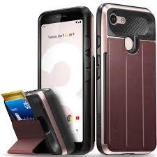 vena google pixel 3 wallet case flip leather cover card slot holder with kickstand rose gold red black com