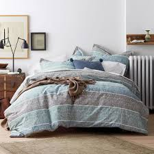 tri band 2 piece organic cotton percale twin duvet cover set