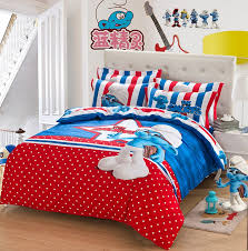 blue red polka dot the smurfs queen bedding sets