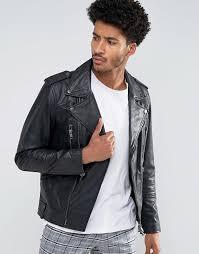 men mango man leather biker jacket with collar in black fashionable
