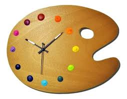fun wall clocks uk artist palette wall clock with real paint globs for the numbers unique