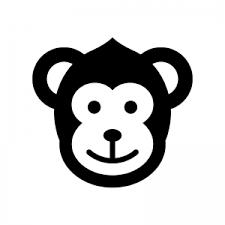 サルのシルエット02 無料のaipng白黒シルエットイラスト