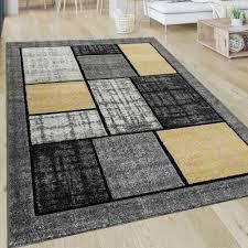 Wohnzimmer Teppich Muster Karo Kurzflor Quadrate