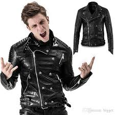 punk leather jacket 2017 new thick style metal skull on full zip patchwork mococycle leather coat man brand name punk jacket thick style pu leather coat