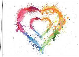 Carte De St Valentin Carte St Valentin Coeur En Peinture Fleurs Sauvages