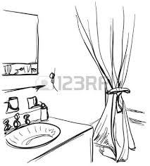 hand mirror sketch. Hand Drawn Bathroom. Washbasin And Mirror Sketch Vector I