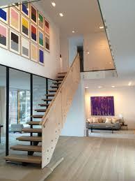 gallery wall stairway modern loft