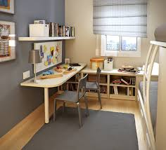 awesome small space kids room design with study desk under floating white wooden bookshelves and two grey polished metal chairs on grey rug as well as low