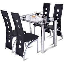 Amazoncom Tangkula Dining Table Set 5 Piece Rectangle Table With