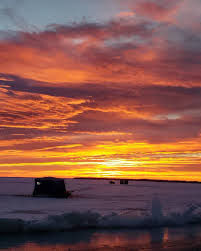 Image result for ice fishing sun set