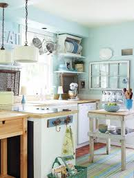 Creative Small Kitchen Amazing Small Kitchen With Wooden Countertop Blue Stripe Rug