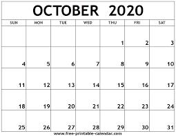 October 2020 Printable Calendar Free Printable Calendar Com