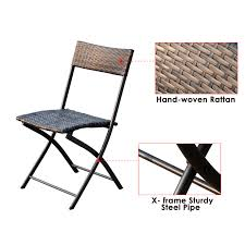 outsunny 7 piece outdoor rattan wicker dining table and chairs set folding