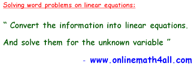 word problems on linear equations