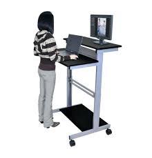 standing rolling desk mobile standing workstation stand up desk intended for elegant property computer desk