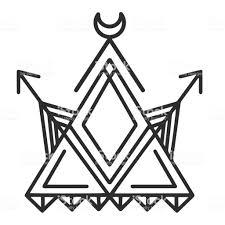 ジオメトリ月矢印タトゥー デザイン ベクトル画像 お絵かきのベクター