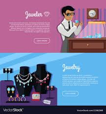 Jewelry Design Concepts Set Of Jewelry Concept Web Banners