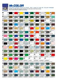 C Color Chart Mr Hobby Colour Chart Solvent Based Acrylics C Numbers