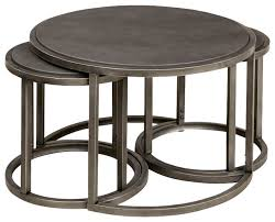 hammary rotation round cocktail nesting table with metal