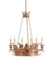 currey company 9547 crown 6 light chandelier with viridian gold finish undefined