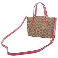 Coach Strawberry Brown Small Gold Cross Body Bag .